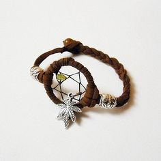 Peridot Dreamcatcher w/ Canabis Leaf Bracelet - MADE TO ORDER. $18.00, via Etsy.
