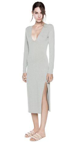 BASIC KNIT LS DRESS (grey) - by DIon Lee. knitwear #Formfitting #lowcut #grey