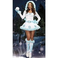 Womens Pretty Hooded Long Sleeve Snowman Christmas Costume White ($37) ❤ liked on Polyvore featuring costumes, white, white costume, white halloween costumes, christmas halloween costume, womens costumes and ladies costumes
