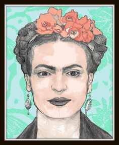 Floral Frida Khalo - Art Print Poster Giclee - Viva La Frida!, Frida Kahlo Mexican Folk Art - 16 X 20 GLOSSY POSTER- Mexican Art Print on Etsy, $40.00