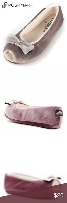 Delta Open Toe Ballerina Slipper in Plum Round open toe - Double ribbon with rhinestone vamp applique - Slip on - Imported Materials Manmade upper, TPR and textile sole Pretty You London Shoes Slippers