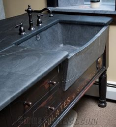 Blue Soapstone Kitchen Countertop with Sinks