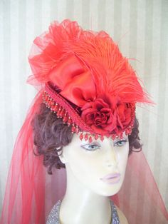 Red Society /Victorian /Steampunk Mini Hat with Hanging Crystals..Fabric Flowers ...Red Satin Bow ....Ref Feathers and Back Veil