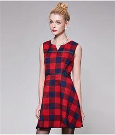 Plaid A-Line Dress Daytime Dresses, Line, Dresses For Work, Plaid, Vintage, Color, Beautiful, Collection, Style