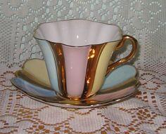 Rosina - Rainbow - Fluted Teacup Set from auntyannesattic on Ruby Lane