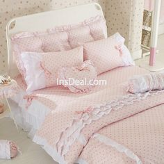 Princess Pastoral Lace Bedding Set Pure Cotton with Bed Skirt Romantic Comforter Set