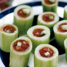 Gazpacho Shots in Cucumber Cannons | MyRecipes.com