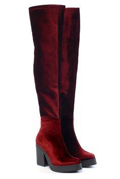 Spanish, maroon velvet boots.