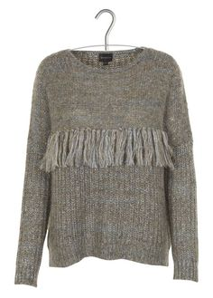 Pull à franges chiné Kaki by BERENICE Crochet Clothes, Pullover, Wool, Collection, Knitting, Grey, Sweaters, Inspiration, Black