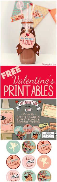 Valentine Printables - Labels - Flags - Cupcake Toppers - The Graphics Fairy