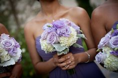 Purple & white bridesmaid bouquet // // David Michael Photography // http://www.theknot.com/submit-your-wedding/photo/5c790313-df03-4551-9e66-15c9905409f0/Chavez-and-Howell-Wedding
