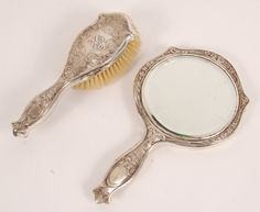 Nouveau sterling silver vanity mirror and brush, R. Blackinton & Co.