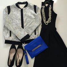 Pair your #LBD with a shimmery jacket & bright accessory (we recommend our Avalon Bracelet Clutch in cobalt), add our Daisy Pearl Necklace to finish the look, and you're out the door!