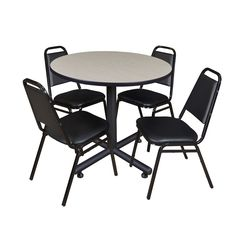 Regency Seating Kobe Black Wood/Metal 36-inch Round Breakroom Table and 4 Restaurant Stacking Chairs