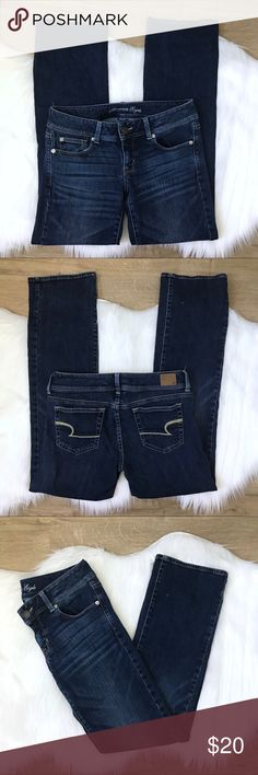 """[AEO] Slim Boot Dark Wash Denim Jeans 6 Regular Previously loved American Eagle Outfitters AEO Women's Slim Boot Cut Low Rise Jeans size 6 Regular. Dark wash with whisker details.  Waist: 32"""" Hip: 35"""" Inseam: 31"""" Rise: 7.5"""" Leg opening: 17"""" American Eagle Outfitters Jeans Boot Cut"""