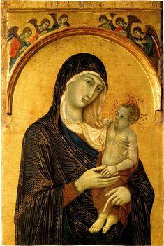 Duccio.The-Madonna-and-Child-with-Angels-137 - Дуччо ди Буонинсенья — Википедия. Дуччо. «Мадонна с младенцем» 1300-05гг. Перуджа, Национальная галерея Умбрии.