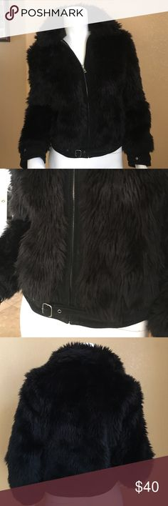 Express Black Fur Coat! Express Black Fur Coat! Zip Up, with a thin black belt that goes around and buckles in the front! Size XS, in excellent condition only worn a couple times! Express Jackets & Coats