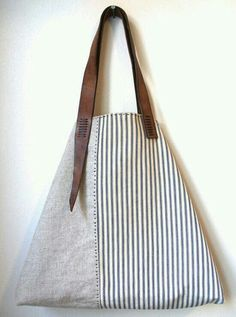 Sail Away Tote - Antique Ticking Stripe Cotton, Irish Linen, Repurposed Leather . Sail Away Tote – Antique Ticking Stripe Cotton, Irish Linen, Repurposed Leather Tote Bag Purse Di Sacs Tote Bags, Clutch Bags, Sac Week End, Linen Bag, Fabric Bags, Handmade Bags, Handmade Handbags, Beautiful Bags, Bag Making