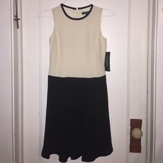 Monochrome Professional Dress! Cream and Black sleeveless dress with back zipper enclosure. Ralph Lauren Dresses Midi