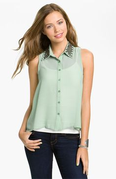 Lush Stud Collar Shirt (Juniors) available at #Nordstrom Almost bought this!