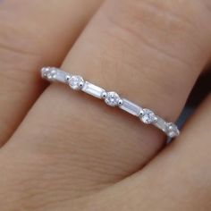 Baguette Diamond Solid 14K White Gold Engagement Wedding Anniversary Ring