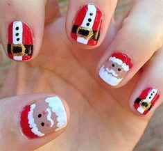 Santa Nail Art Designs Holiday Nails Xmas Christmas
