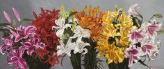 "Pedro Diego Alvarado-Rivera's ""Lirios Varios"" (2012, oil on linen). #art #flowers #painting #ruizhealyart"