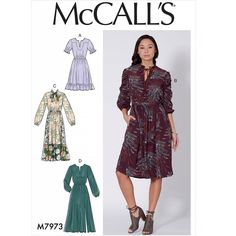 McCall's 7973 Misses' Dresses sewing pattern Simple Dress Pattern, Dress Patterns, Fall Patterns, Paper Patterns, Clothes Patterns, Sewing Clothes, Simple Dresses, Dresses With Sleeves, Loose Dresses