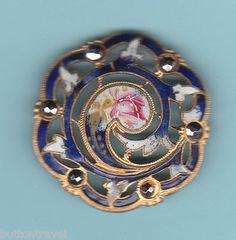 French LRG Blue Champleve Enamel Openwork Button Steel Trim Art Nouveau Style | eBay