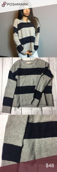 🆕the warmest and softest sweater you'll own NWOT Super cute and very warm fuzzy sweater💙Purely and simply, this cozy striped knit gives us the warm and fuzzies. You will never want to take it off. Round neck. Long sleeves. Drop shoulders. Ribbed neckline, cuffs and hem.  48% ACRYLIC, 39% NYLON, 10% WOOL, 3% SPANDEX IMPORTED HAND WASH, LAY FLAT TO DRY IMPORTED LOFT Sweaters Crew & Scoop Necks