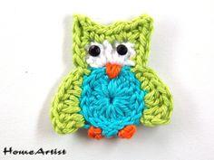 Owl Crochet Applique Embellishment  Free color