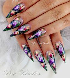 Hand painted Tulips. #tulips #floralnaildesigns #stilettos #tulipnaildesign #gelnails #nailart #handpaintednails #naildesign #nails #lisakorallus #liquidglamour #nailpictures  #lisasaltiel #lisamariesaltiel