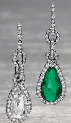 A pair of emerald and diamond drop earrings, by JAR, 1994