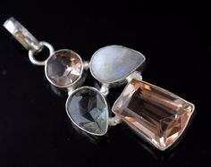 Statuesque Hydro Quartz-Rainbow Moonstone Sterling Silver Plated Pendant E895 #valueforbucks #Pendant