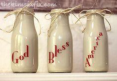 Vintage inspired milk bottles from frappucino bottles.