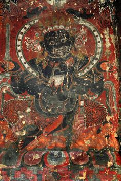 Mahakala, Buddhist dharma protector. Buddhist Shrine, Buddhist Art, Buddha Buddhism, Tibetan Buddhism, Mahayana Buddhism, Buddhist Practices, Eastern Philosophy, Tibetan Art, Taoism