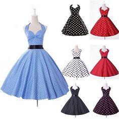 Dude...$22! Vintage Polka Dots Retro 50s 60s Halter Swing Pinup Rockabilly Housewife Dress | eBay