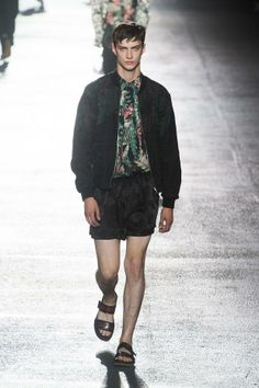 DRIES VAN NOTEN S/S 2014 | The shirt and jacket are on point, but the sandals and shorts can go.