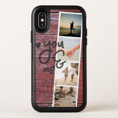 You & Me. Photo Collage of Memories. Red Wood. OtterBox Symmetry iPhone X Case - monogram gifts unique custom diy personalize