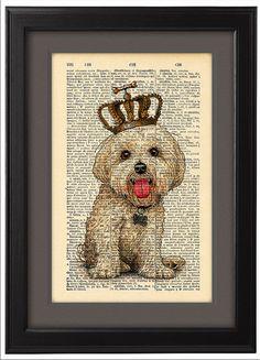 Art poster Crown Dog Illustration poster DICTIONARY por Natalprint