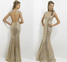 Backless Champagne (I like in Royal Blue) Long Prom Dresses Sheer Tulle High-neck Bling Bling Crystals Shiny Sequined Mermaid Women Formal Evening Gowns Illusion