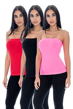 5695e9b770 Unique Styles Womens Long Tube Top Seamless Layering Bandeau Ribbed  Camisole Top 3PK Black Red Fuchsia