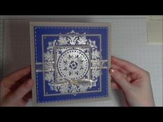 Embossed Christmas Card in blue and white, using the triple time stamping technique, with Stampin' Up! 's Medallion stamp