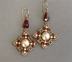 Oriental Style – Beaded Earrings Earrings made with 10mm Swarovski pearls, 3mm Swarovski pearls and bicones, Miyuki seed beads. Related Posts:Learn Bead Embroidery and Sashiko from a Master ArtistShaped Beads Primer: 2-Hole Seed BeadsHow to Prepare for a Day of BeadingBead Crafts Are Perfect For the HolidaysHello, Fall! Ideas and Tutorials for Beaded Leaves