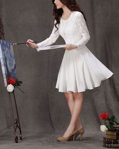 White lace dress Little white dress Fitandflare by Fashiondress1, $56.99
