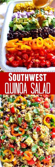 This Southwest Quinoa Salad is loaded with fresh veggies and packed with southwest flavor. The perfect side dish for any meal! I add some cider vinegar to the dressing to give it a little more zing and bring out all the other flavors. Veggie Recipes, Whole Food Recipes, Vegetarian Recipes, Cooking Recipes, Healthy Recipes, Avocado Recipes, Veggie Food, Cooking Tips, Healthy Potluck