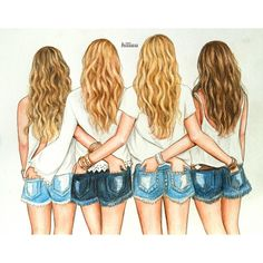 One of the most beautiful qualities of true friendship is to understand and to be understood. 👭👭💜💛💚❤️ Tag your best friends here to share… Friends Drawing, Friends Sketch, Best Friend Drawings, Bff Drawings, Drawings For Girls, Bff Pics, 4 Best Friends, Best Friends Forever, Best Friend Pictures
