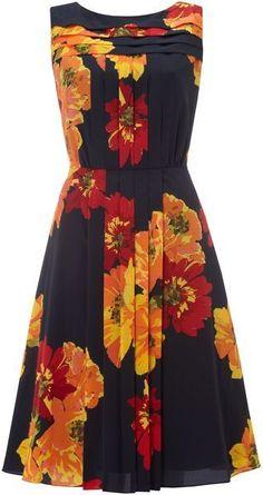 Ellen Tracy Floral Print Pleat Panel Dress in Blue (navy) - Lyst