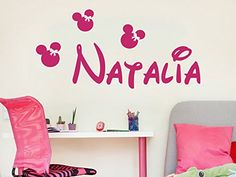 Girl Name Wall Decal Nursery Vinyl Sticker Personalized Decals Minnie Mouse Nursery Wall Decor Kids Room Childrens Bedroom NS1023 *** Find out more about the great product at the image link. (Note:Amazon affiliate link)