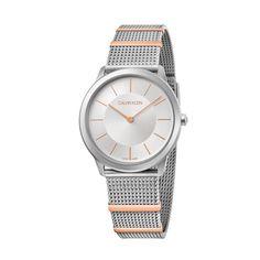 Γυναικείο quartz ελβετικό ρολόι Calvin Klein K3M521Y6 Minimal με ασημί καντράν και ατσάλινο μπρασελέ σε στυλ ψάθας | Ρολόγια CK ΤΣΑΛΔΑΡΗΣ στο Χαλάνδρι #Calvin #Klein #Minimal #tsaldaris